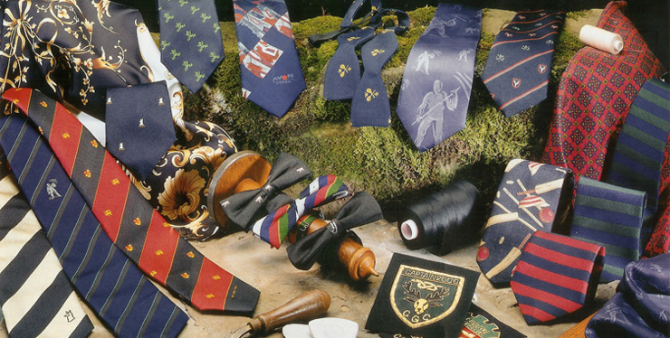 Club and Company ties, Scarves, Bow ties, Sweatshirts, embroidered badges
